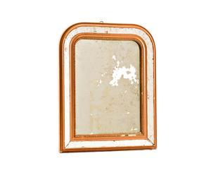 Cornice in legno arancione con specchio - anno 1950