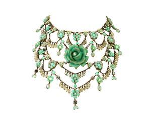 Collana in ottone con pendenti a fiore in cristalli Swarovski e pizzo - verde