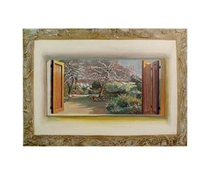 Decoupage su pannello mdf con decorazioni manuali Inverno - 50x70 cm