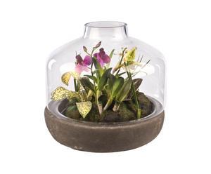 bottiglia con composizione floreale in poliestere Romantic - 26x28 cm