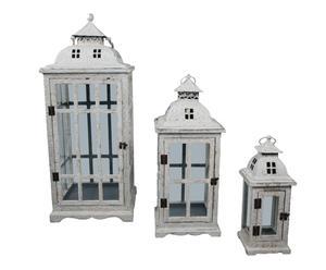 set di 3 lanterne portacandela in ferro e legno Isabell - max 34x82x34 cm