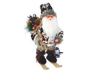 babbo natale decorativo con sci folk - 16x30x20 cm