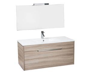 mobile bagno con cestone seba + specchio pietra - 70x45x45 cm