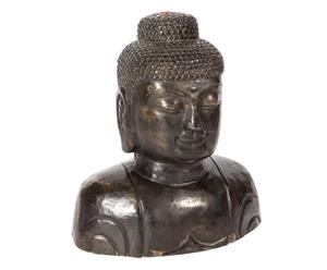 Busto di Buddha thailandese in granito nero - 40x41x23 cm