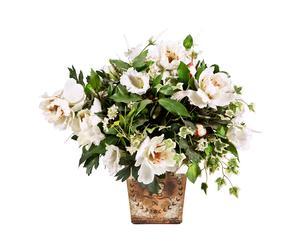 vaso fiorito in legno decorato e tessuto Carole - 55x47x50 cm