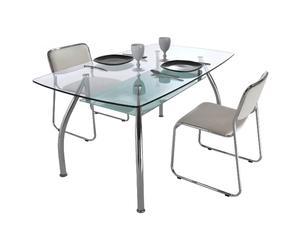 tavolo in metallo e vetro sagomato JAMES trasparente - 75x145x85 cm