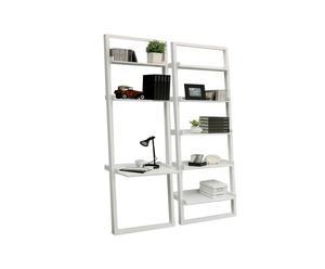 libreria in MD con 5 ripaini KROSS bianca - 193x65x36 cm