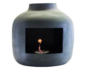 caminetto in maiolica DA PARETE a bioetanolo Slate piombo  - 55x50x25 cm