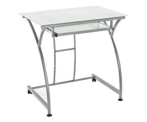 scrivania in metallo e vetro temperato IDEA - 77x74x52 cm