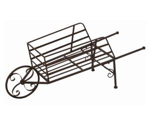 Carriola portavaso in ferro Rusty marrone - 75X29X32 cm