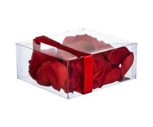 Set di 4 scatole di petali di rose artificiali in poliestere Red Rose