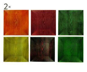 set di 12 sottopiatti quadrati wood - 33x33 cm