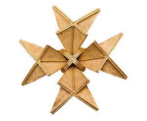Spilla a croce di Malta Trifari Crown in metallo zamak - Stati Uniti 1950