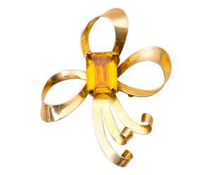 Spilla a fiocco con topazio in argento dorato - anni '40