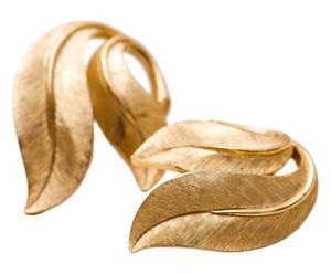Coppia di orecchini a foglie in metallo dorato satinato Trifari - anni '50