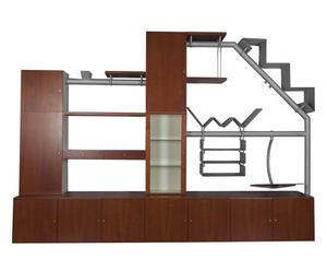Composizione da parete in ciliegio e metallo Telesio - 323X232X53 cm