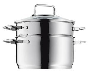 Set per cottura a vapore verdure in acciaio con coperchio in vetro - 3 pz
