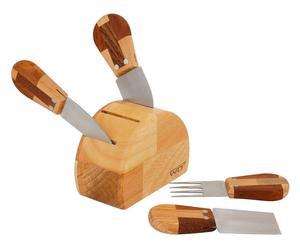 Set da formaggio in legno - (1 ceppo + 4 coltelli)