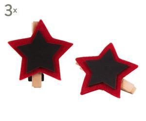 set di 6 mollettine con lavagnetta starlight - d 8 cm