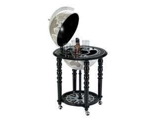 globo bar da terra in legno, cristallo e acciaio nero - d 58/h 90 cm
