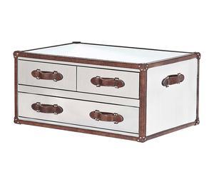 Tavolo da caffè in acciaio con 3 cassetti bianco - 101x45x60 cm