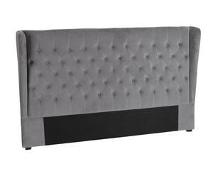 Testata per il letto in hevea e velluto Old Age grigio scuro - 192x120x20 cm
