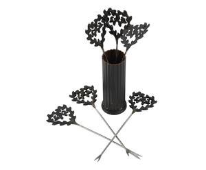 set di 6 forchettine da aperitivo in metallo - 12x3 cm