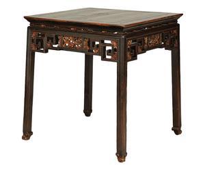 Tavolino antico cinese in legno di olmo laccato - 76x83x76 cm
