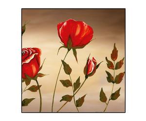 Stampa su pannello in legno con cornice Red Rose II - 30x30 cm