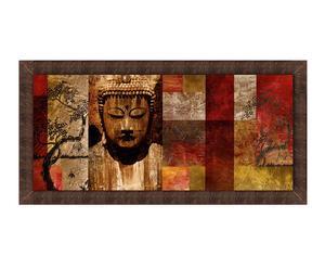 Stampa su pannello in legno con cornice Buddha - 150x80 cm