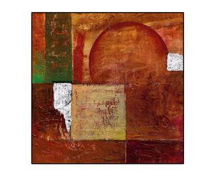 Stampa su pannello in legno Abstract Orange Circles I - 70x70 cm