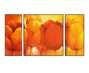 Trittico di Stampe su pannello in legno Orange Bulbs - 100x50 cm