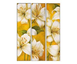 Trittico di stampe su pannello in legno White Lilium - 60x80 cm