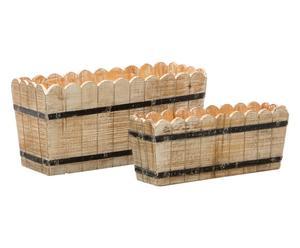 Set di 2 fioriere in legno con bordo sagomato - 80x38x30 cm