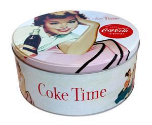 scatola portatutto tonda in metallo coke time - d 20/h 9 cm