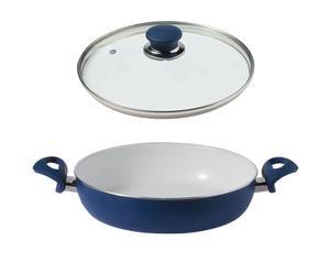 tegame con coperchio in alluminio e ceramica blu laguna - d 32 cm
