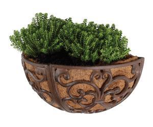 Contenitore per piante in ghisa e cocco da muro - 35x18x18 cm