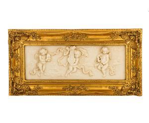 cornice dorata con decoro a rilievo mansart - 57x29x6 cm