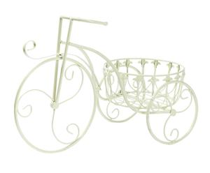 Stand per vaso in ferro triciclo bianco - 55x36x26 cm