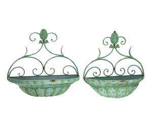 Set di 2 fioriere da parete a mezzaluna in ferro verde - 57x51x28 cm