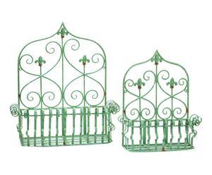 Set di 2 fioriere da parete in ferro arricciato verde - 55x61x24 cm