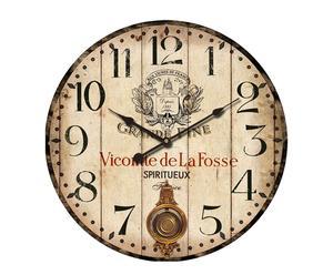Orologio da parete in legno e metallo con pendolo Taverna - d 58 cm