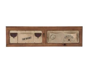 Organizer da parete in legno e pelle a 5 tasche - 141x37x4 cm