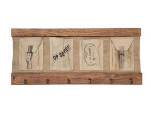 Organizer/appendibiti da parete in legno e stoffa - 84x38x5 cm
