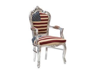 Sedia in legno e tessuto con braccioli U.S. Flag silver - 60x108x50 cm