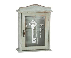 Portachiavi da parete in legno con vetrina Chiave - 25x35x10 cmm
