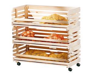 carrello portafrutta smontabile in legno massello fruits - 79x80x30 cm