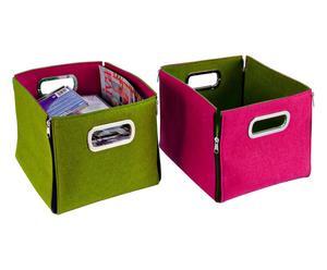 box in feltro zip assortito rosa/verde - 27x23x27 cm