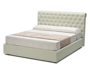 letto contenitore matr. in ecopelle shamir beige - 218x115x175 cm