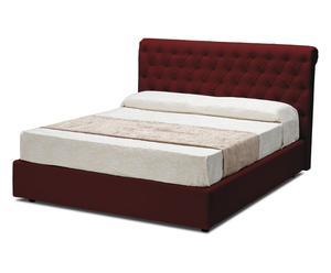 letto contenitore matr. in ecopelle shamir rosso - 218x115x175 cm